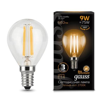 Лампочка светодиодная Gauss, 105801109, 9W, E14 105801109