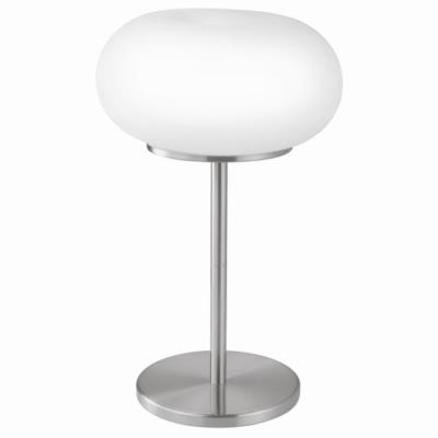 Настольная лампа OPTICA 86816, 2х60W (E27), ?280, H460, никель мат./опаловое стекло, белый 86816