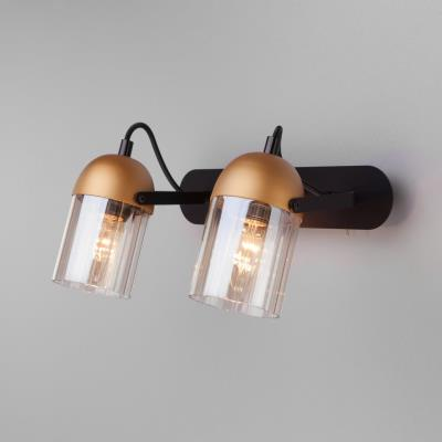Настенный светодиодный светильник с поворотными плафонами Eurosvet Mars 20122/2 черный/золото 20122/2