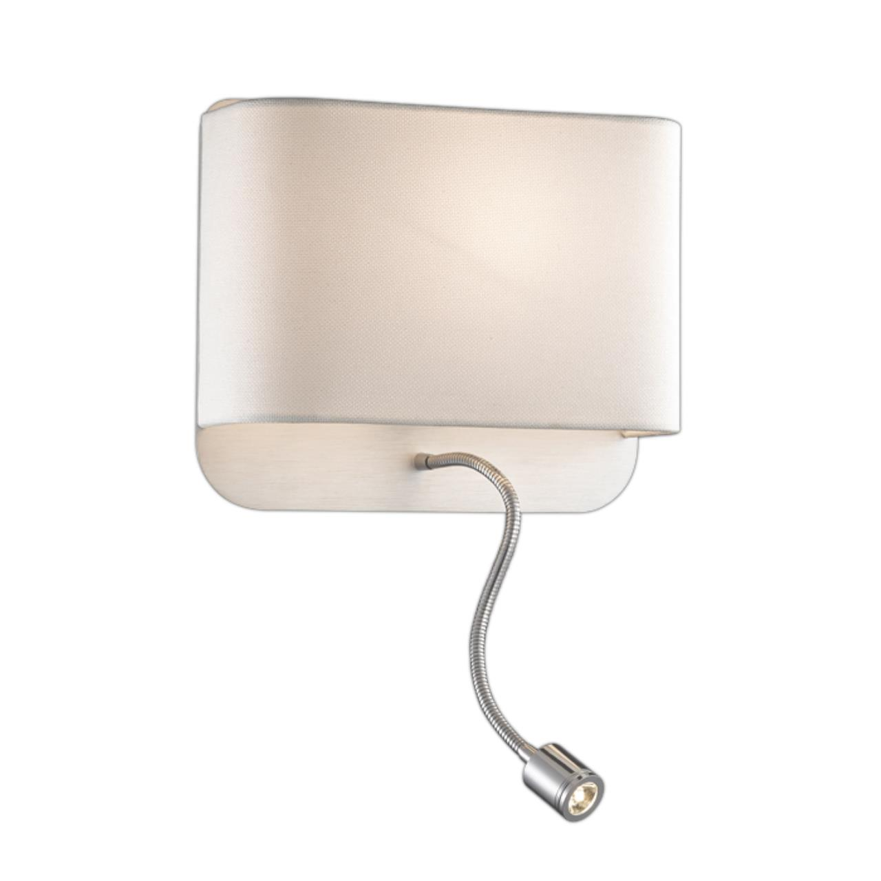 2588/2W L-VISION ODL14 115 хром/абажур белый Бра с выкл E27 60W+1W LED 220V BOSTRI