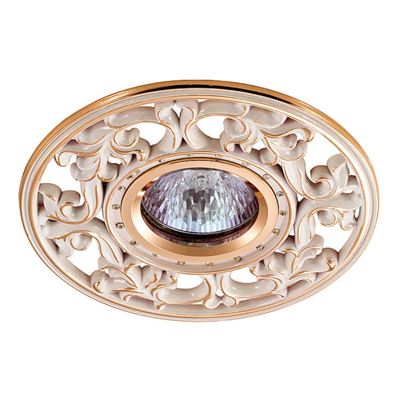 369989 SPOT NT15 119 белый/золото/хрусталь Встраиваемый светильник IP20 GX5.3 50W 12V VINTAGE