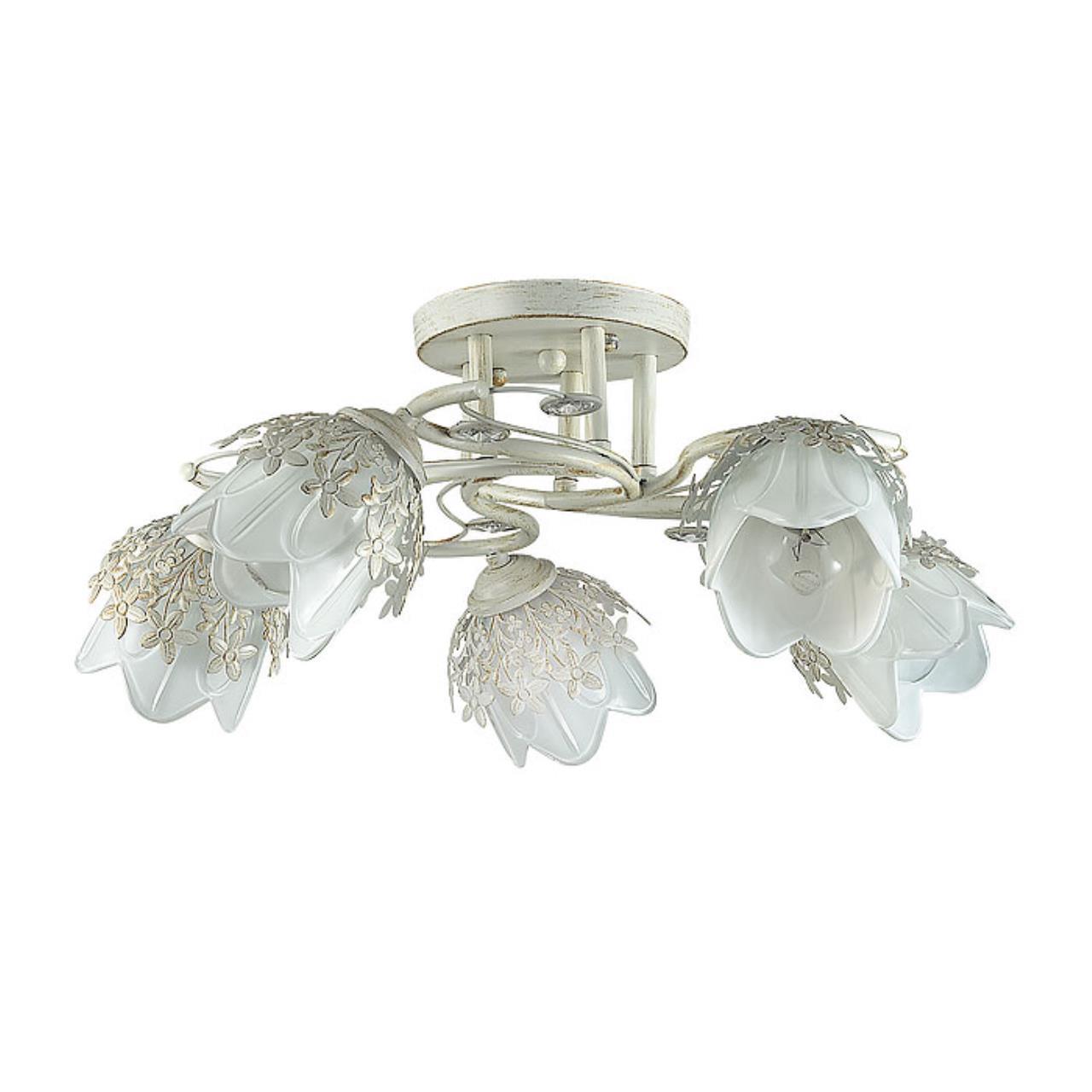3002/5C COMFI LN16 204 белый/зол. патина/метал. декор/хрусталь Люстра потолочная E14 5*40W 220V FLOR