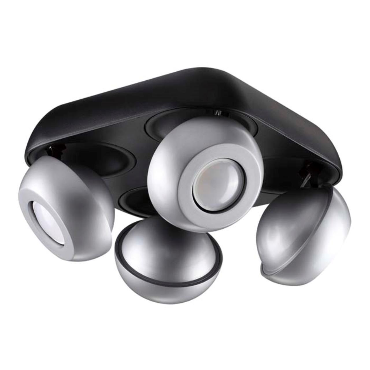 3492/4C MODERN ODL18 черный с серебристым Потолочный светильник GU10 4*50W 220V NERARGO
