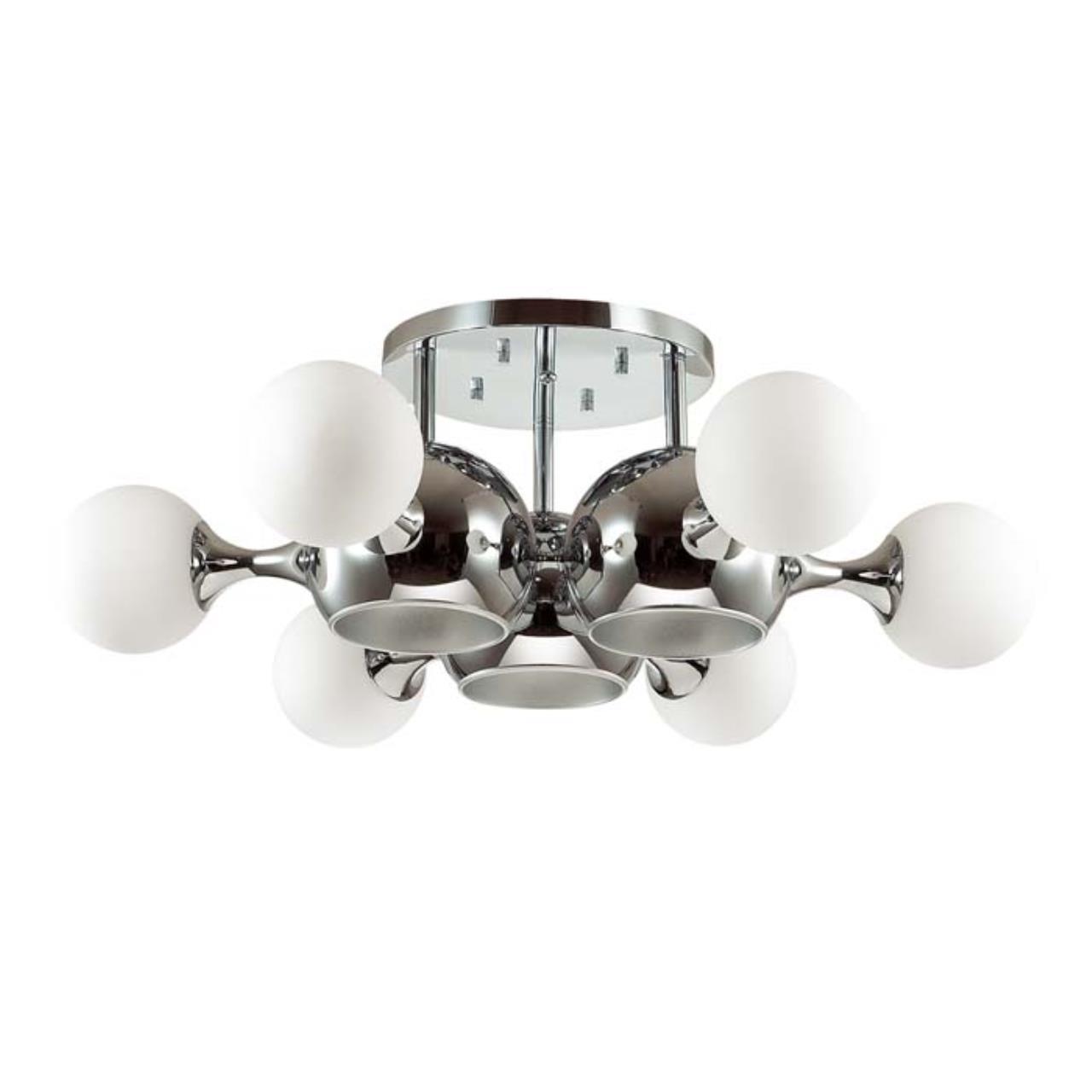3972/9C MODERN ODL18 327 хром/белый Люстра потолочная IP20 E27, E14 3*60W, 6*40W 220V MIOLLA