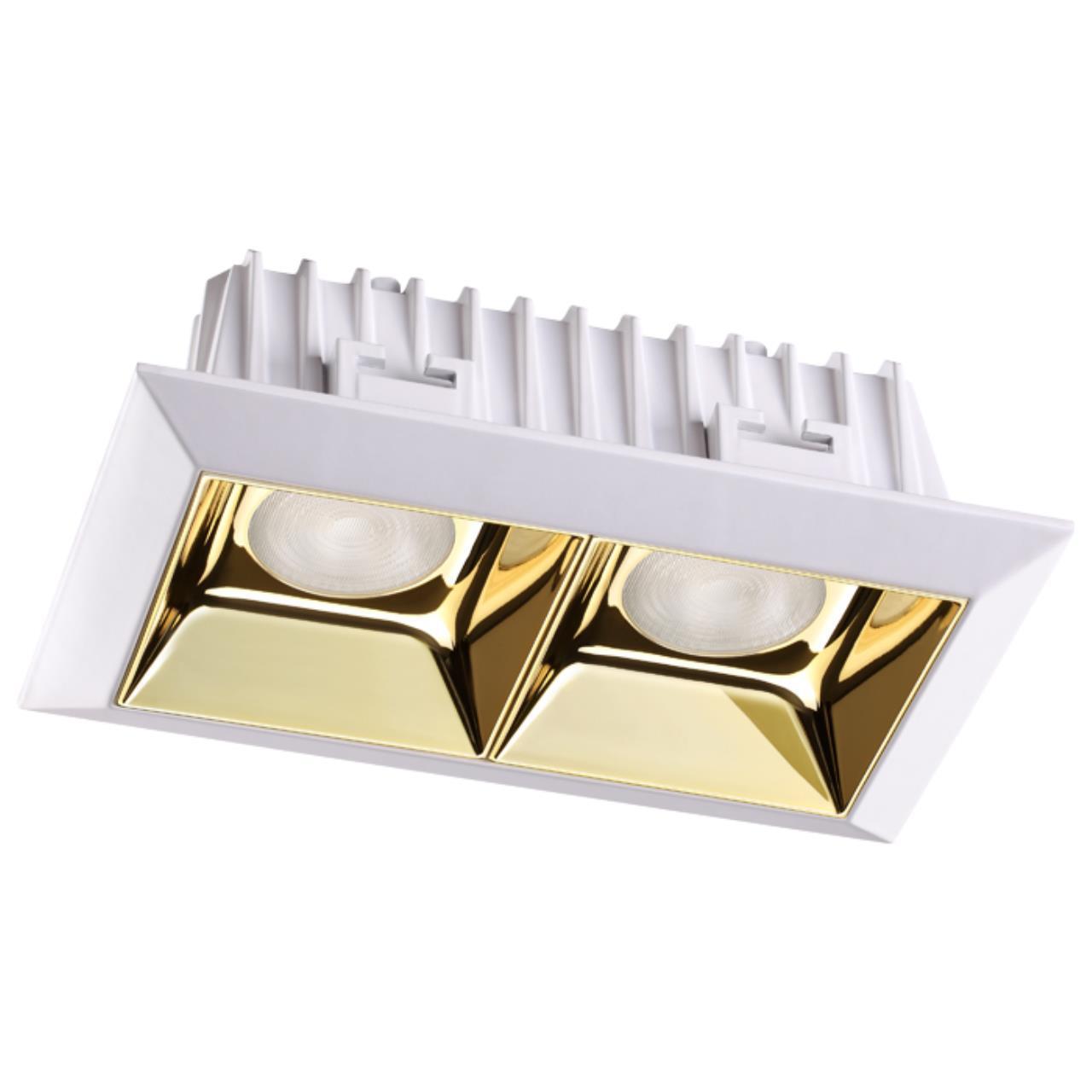 357847 SPOT NT18 054 белый/золото Встраиваемый светильник IP33 LED 3000К 14W 110-265V ANTEY