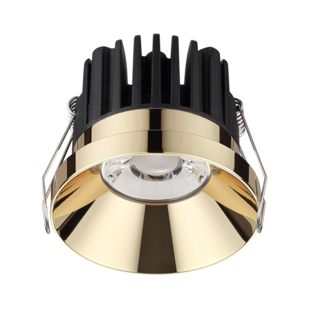 357909 SPOT NT19 088 золото Светильник встраиваемый IP44 LED 3000К 10W 100-265V METIS