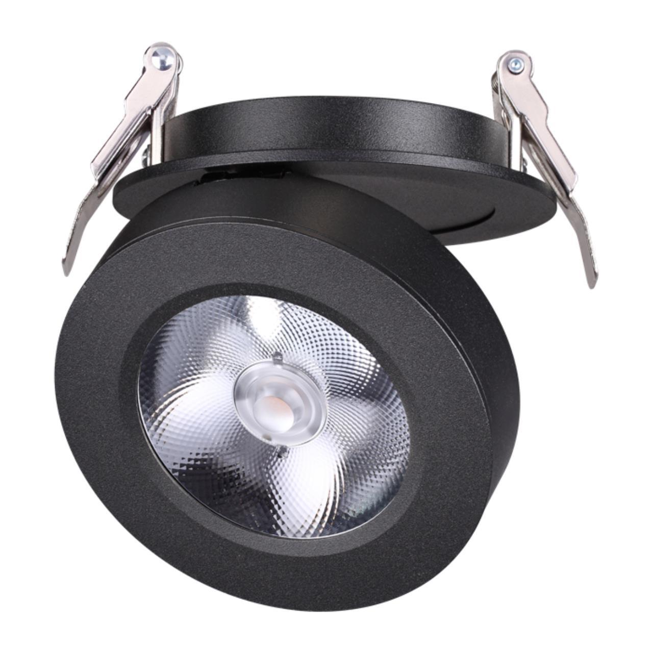 357983 SPOT NT19 077 черный Встраиваемый светильник IP20 LED 3000К 12W 220V GRODA