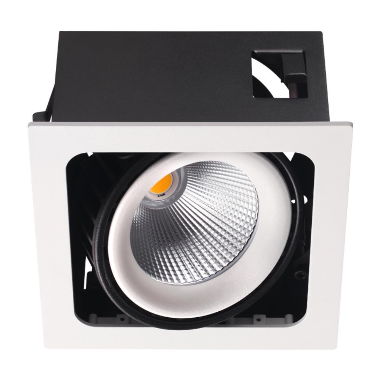 358037 SPOT NT19 082 белый/черный Встраиваемый карданный светильник IP20 LED 3000К 32W 220V GESSO