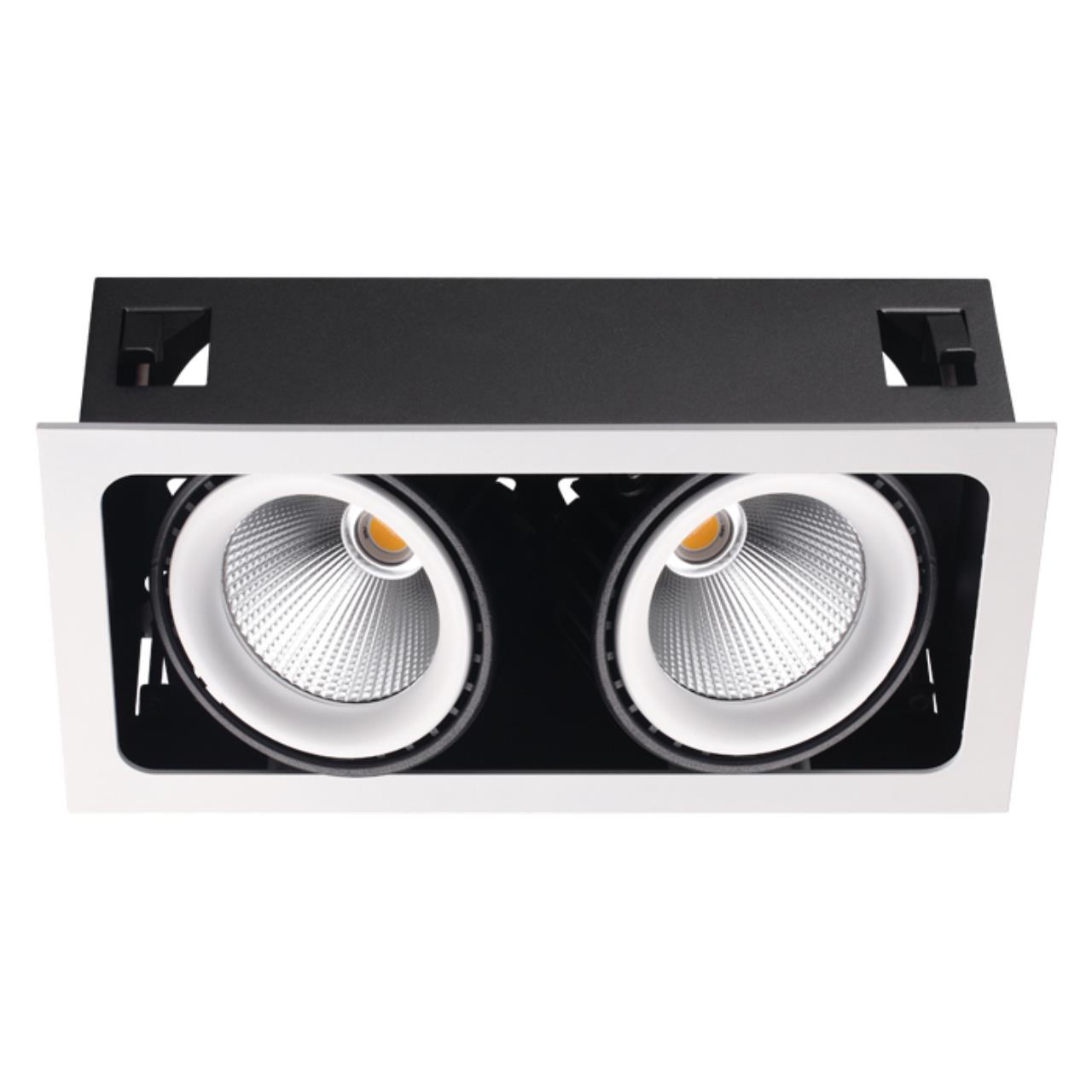 358038 SPOT NT19 082 белый/черный Встраиваемый карданный светильник IP20 LED 3000К 2*32W 220V GESSO