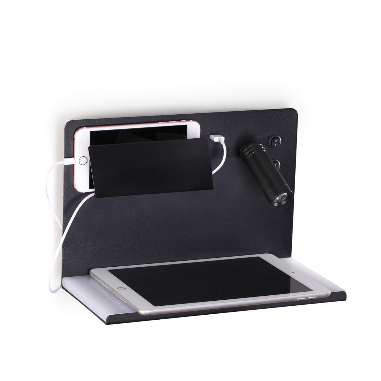4201/11WL HIGHTECH ODL20 240 черный/белый/металл Настенный св-к с USB и беспр зарядкой, 8W + 3W SMAR