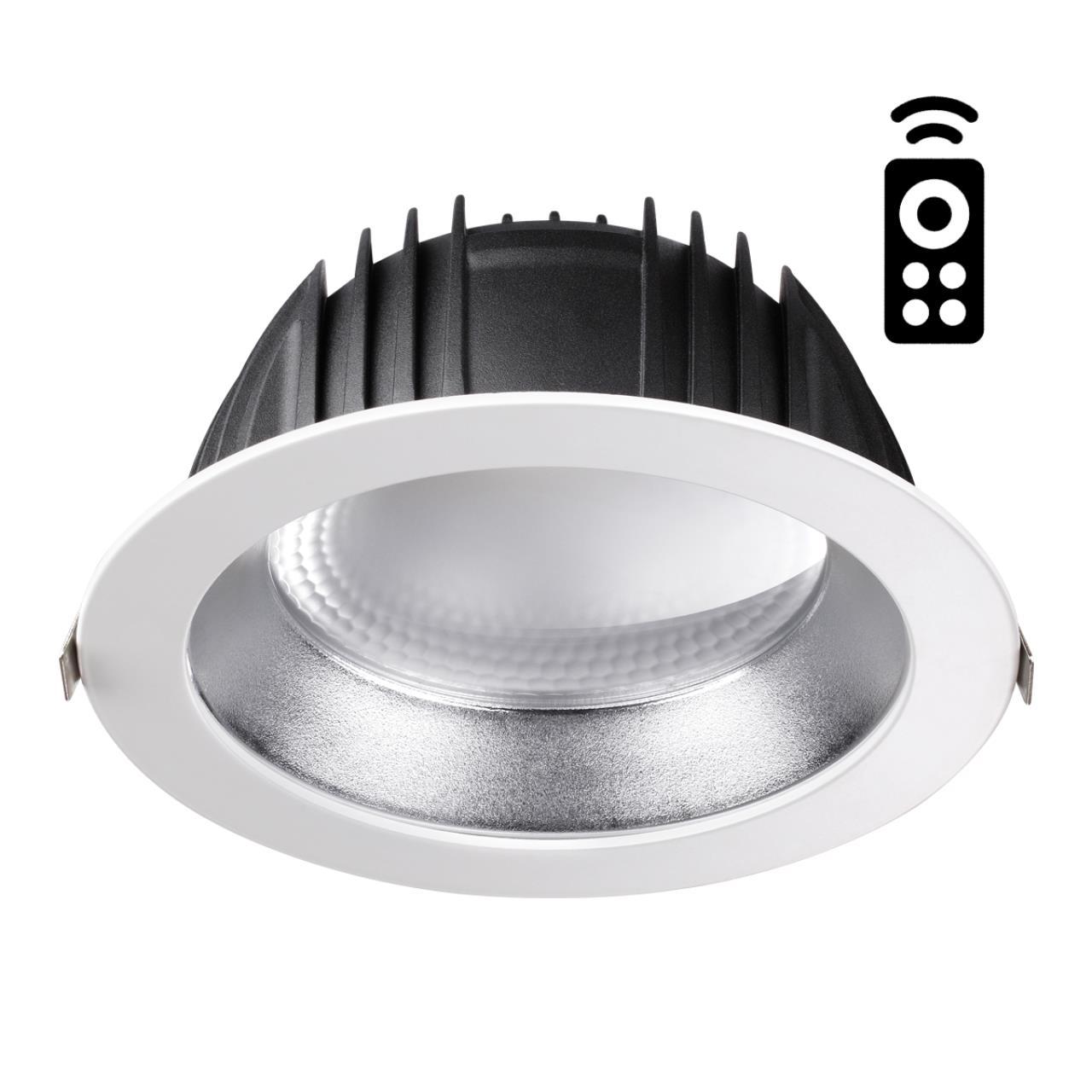 358336 SPOT NT19 000 белый/серебро Встраиваемый диммируемый св-к с пультом ДУ IP20 LED 2700~5000К