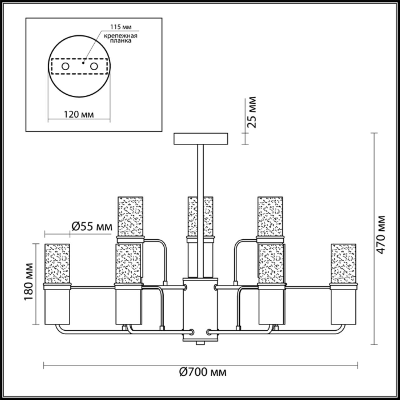 4403/9C COMFI LN19 160 никель, хром Люстра потолочная E14 9*40W 220V NEVADA