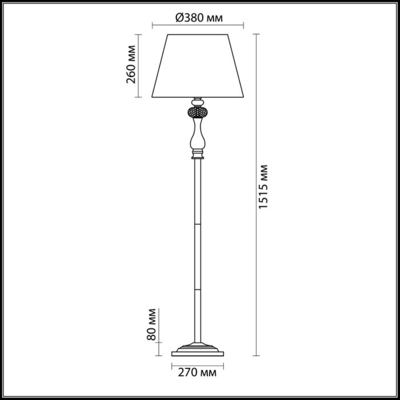 3390/1F CLASSIC ODL17 538 мат. зол/абажур ткань/хрусталь Торшер E14 40W 220V AURELIA