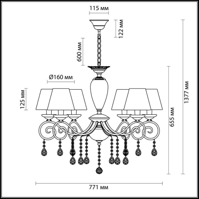 3924/6 CLASSIC ODL18 526 мат.серебро/перламутр/ткань/стекло/хрусталь Люстра IP20 E14 6*40W 220V MARI