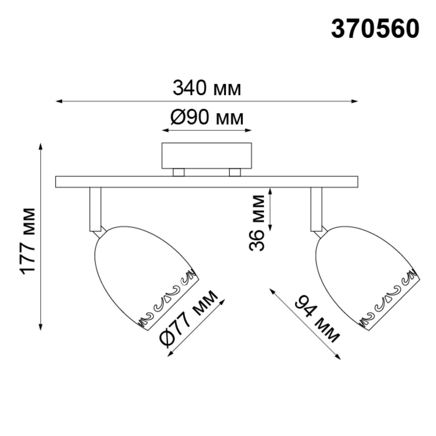 370560 OVER NT19 107 медь Накладной светильник IP20 GU10 2*50W 230V VETERUM