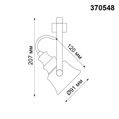 370548 PORT NT19 105 черный Трековый светильник IP20 GU10 50W 230V VETERUM