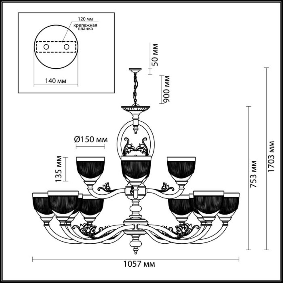 3998/12 CLASSIC  ODL18 460 бронзов/стекло Люстра IP20 E14 12*40W 220V PIEMONT