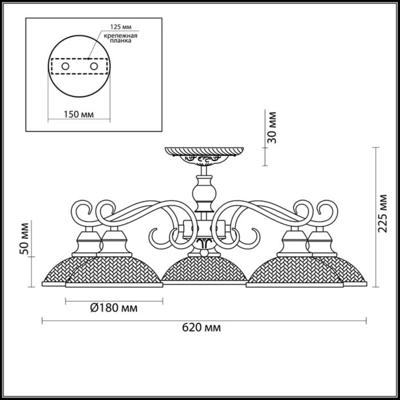 3473/5C COUNTY LN17 216 белый/зол.патина/металл Люстра потолочная E27 5*40W 220V ZEROME