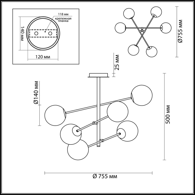 4454/6C MODERNI LN20 58 хром, разноцветный Люстра потолочная E14 6*60W 220V SIERRA
