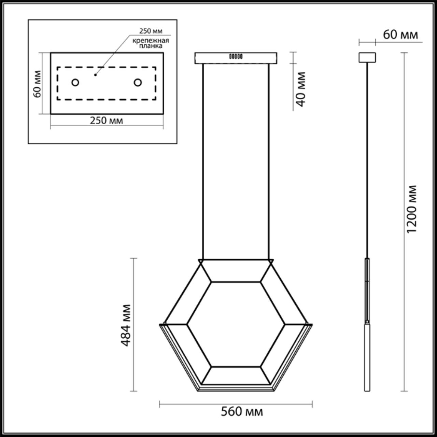 4099/16L L-VISION ODL19 63 черный/хром Подвес LED 16W 220V TREZOR