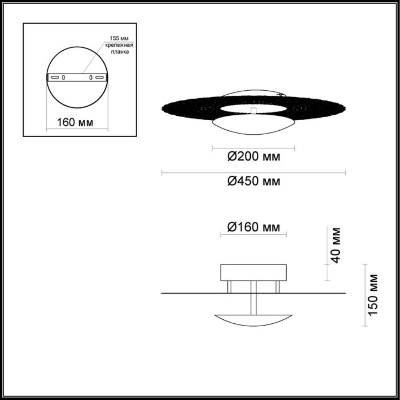 3559/24L HIGHTECH ODL18 167 золотое фольгирование Н/п светильник IP20 LED 3000K 24W 1920Лм 220V SOLA