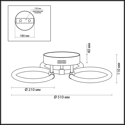 3711/48CL LEDIO LN18 28 хром Люстра потолочная LED 48W 220V CLOVER