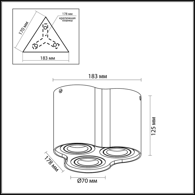 3831/3C MODERN ODL19 184 серый графитовый Накладной светильник GU10 3*50W 220V PILLARON